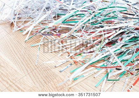 Closeup Shredded Paper Texture And Reuse Colorful Color Paper Scrap Of Document On Wooden Background
