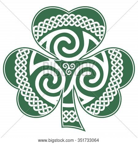 Irish Celtic Design In Vintage, Retro Style, Celtic-style Clover. Irish Symbol For The Feast Of St.