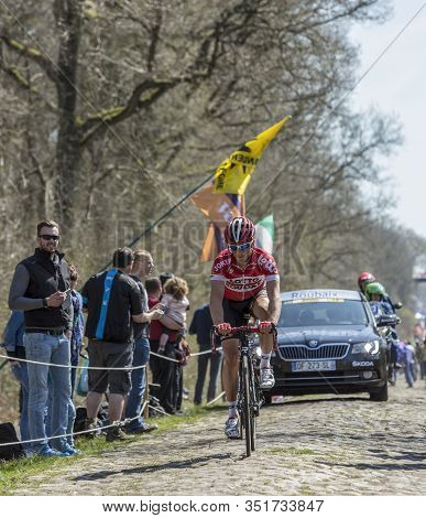 Wallers,france - April 12,2015: The Belgian Cyclist Sean De Bie Of Lotto-soudal Team Was The Leader