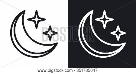 Starry And Moonlit Sky Icon For Weather Forecast Application Or Widget. Moon And Stars In The Night