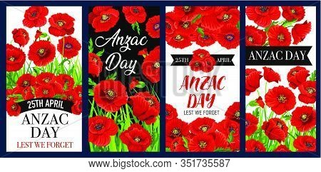 Anzac Remembrance Day Poppy Flower Vector Banners, Commemorate Anniversary Of Australian And New Zea
