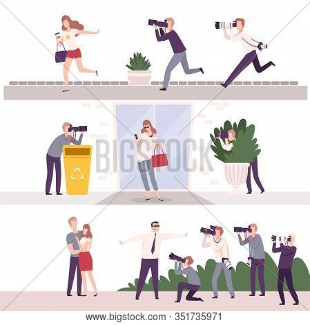 Collection Of Paparazzi With Cameras Following Celebrities, Famous People Posing To Photographers At