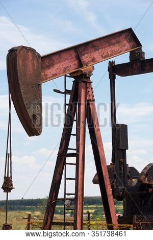 Oil well in Ayoluengo de la Lora, Burgo Province, Castilla Leon in Spain.