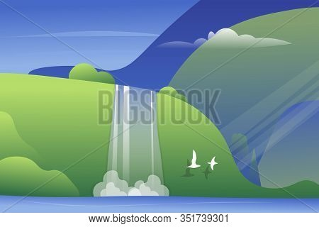 Mountain Landscape With A Waterfall And Birds. Vector Illustration.