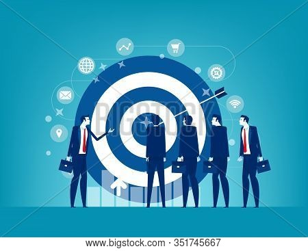 Leader And Colleague Engaged In Company Goals. Concept Business Marketing Vector Illustration, Emplo