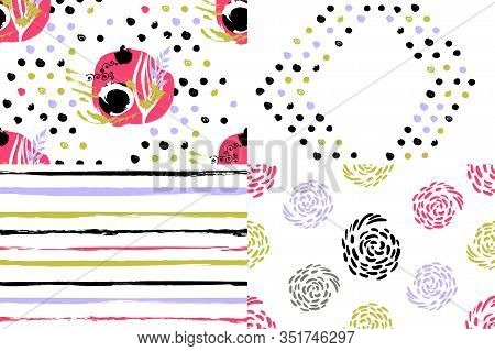 4 Geometric Patterns On A White Background, Used Five And Six Colors, Restrained Gamma, Uneven Lines
