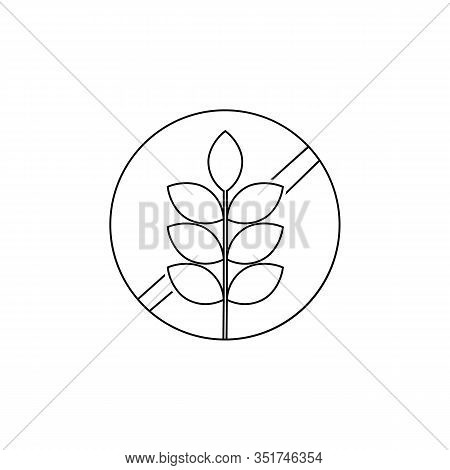 Gluten Free Food Allergy Product Dietary Label Flat Vector Line Icon For Apps And Websites
