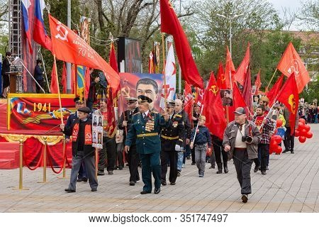 Anapa, Russia - May 9, 2019: At The Victory Day Parade Are Representatives Of The Communist Party, T