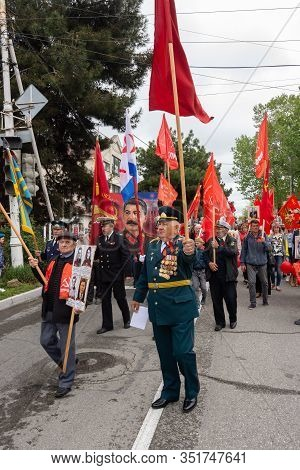 Anapa, Russia - May 9, 2019: Representatives Of The Communist Party Of Russia, Participants In The V