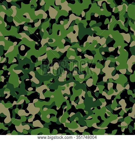 Vector Seamless Pattern Of Camouflage, Army Camouflage Texture
