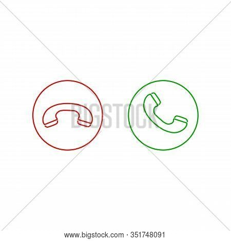 Phone Call Line Icons. Accept Call And Decline Button. Green And Red Buttons With Handset Silhouette