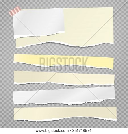 Set Of Torn White And Yellow Note, Notebook Paper Strips And Pieces Stuck On Grey Squared Background