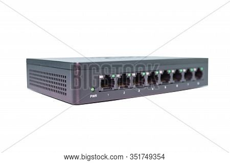 Black Switch 8 Port Gigabit Isolated White Background Device Connect Network And Internet Clipping P