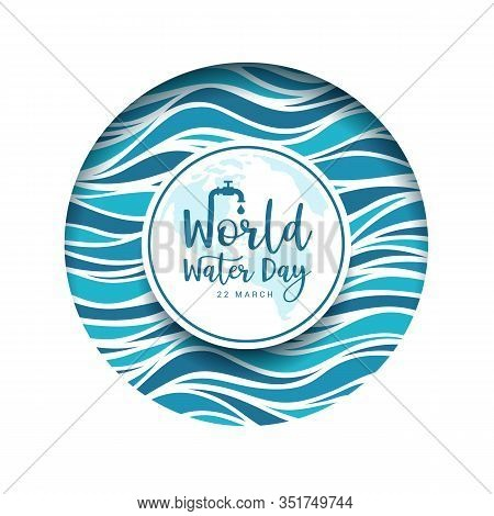 World Water Day Banner - Text In Circle Groove Frame With Abstract Blue Water Wave Texture Vector De