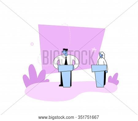 Politicians Talking On Public Debates. Man And Woman Having A Debate On Rostrum. Gender Equality Con