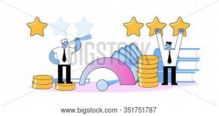 Businessmen Standing Among Rating Stars And Indicators. Ranking, Evaluation And Benchmarking Concept