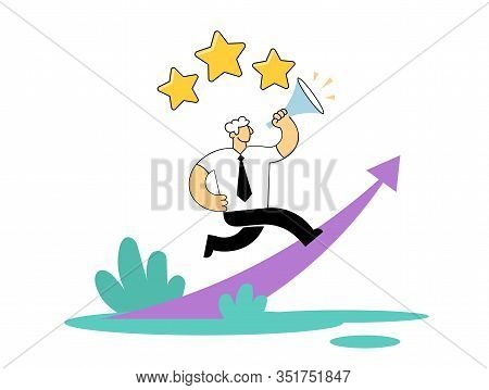 Businessman Running Up The Rising Arrow With Rating Stars Above His Head. Benchmarking, Career, Star