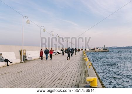 Wooden Pier In Sopot In The Spring. Good Windy Weather. Winter Day On Old Wooden Pier In Sopot, Pola