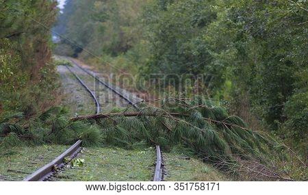 Railroad Tracks That Were Blocked By Hurricane Florence Near Fayetteville North Carolina