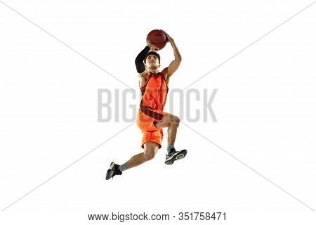 Young Basketball Player Of Team Wearing Sportwear Training, Practicing In Action, Motion In Jump, Fl
