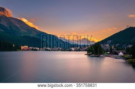 Sunset Above St. Moritz With Lake Also Called St. Moritzsee And Swiss Alps In The Background In Enga