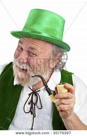 Happy Irish Leprechaun Holding Pipe