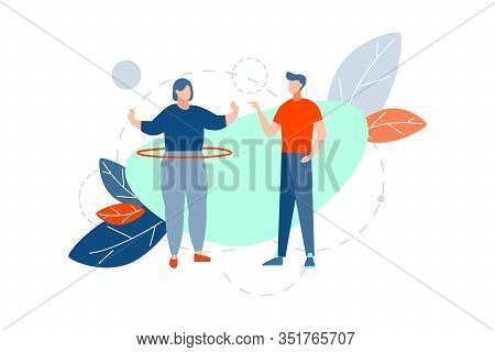 Fitness, Loss Of Weight, Workout Concept. Fat Thick Woman Is Doing Sport Activity, Spinning Hoop At