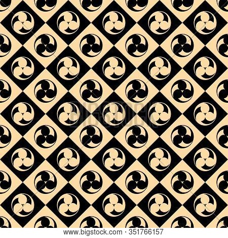 Seamless Vector Pattern. Japanese Symbol Tomoe - Three Drops. Endless Texture For Textile Design. Ja