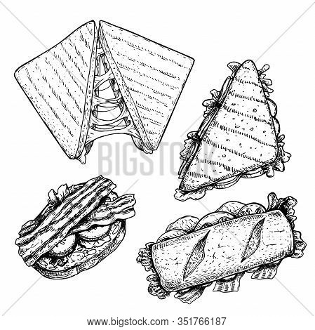 Hand Drawn Sketch Sandwiches Set. Top View. Submarine, Ciabatta, Triangle And Rectangular Sandwiches