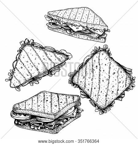Hand Drawn Sketch Sandwiches Set. Triangle And Rectangular Sandwiches With Lettuce Leaves, Salami, C