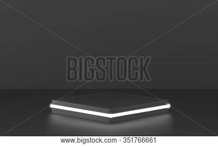 Round Podium, Pedestal Or Platform, Illuminated By Led Spotlights. Vector Illustration. Bright Black