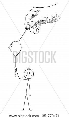 Vector Cartoon Stick Figure Drawing Conceptual Illustration Of Happy Man Or Businessman Holding Infl