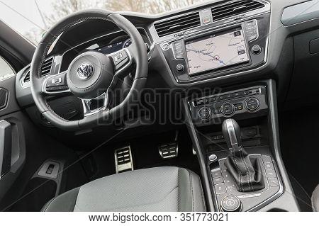 Hamburg, Germany - February 10, 2017:  Interior Of The Second Generation Volkswagen Tiguan, 4x4 R-li