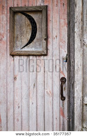 Weathered Wood Outhouse Door