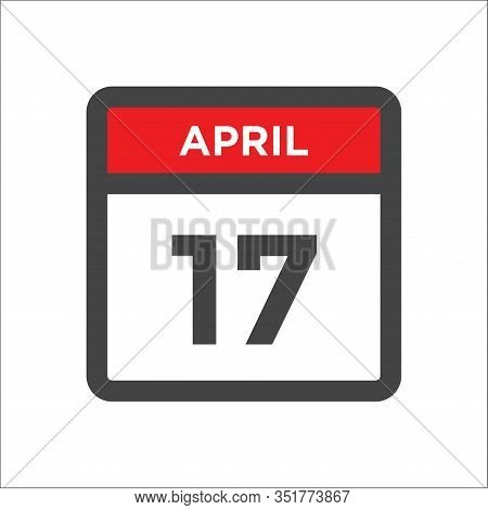 April 17 Calendar Icon With Day And Month