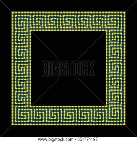 Square Shaped Meander Mosaic, Frame In Yellow And Blue. Frame With Seamless Meander Pattern. Constru