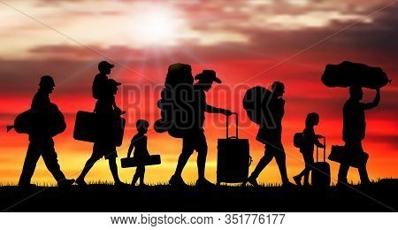 Crowd People Migration At Sunrise. Silhouette Vector Illustration (clipping Mask)