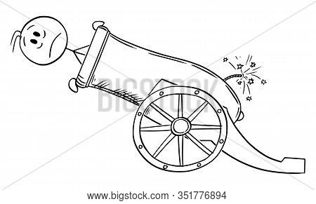 Vector Cartoon Stick Figure Drawing Conceptual Illustration Of Man Or Businessman Loaded In Big Cann