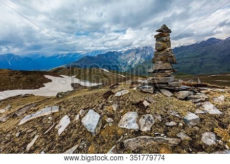 Stone cairn in Himalayas. Near Manali, above Kullu Valley, Himachal Pradesh, India
