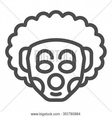 Curly Clown Line Icon. Party Harlequin Jester Face With Makeup And Frizz Hair. Happy Birthday Vector