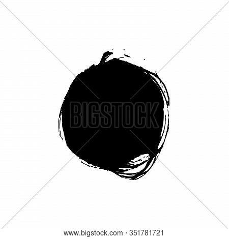 Red Ink Brushstroke Circle Illustration. Stylized Japanese Flag, Sun On White Background. Paint Samp