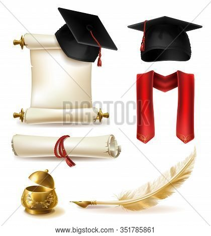 High Education Graduation Symbols Realistic Set With Mortarboard Cap And Scarf, Diploma Or Certifica