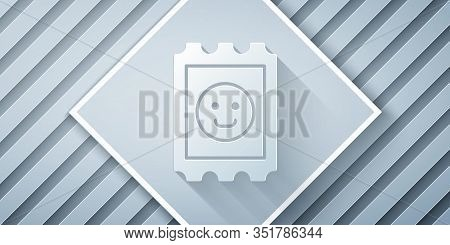 Paper Cut Lsd Acid Mark Icon Isolated On Grey Background. Acid Narcotic. Postmark. Postage Stamp. He