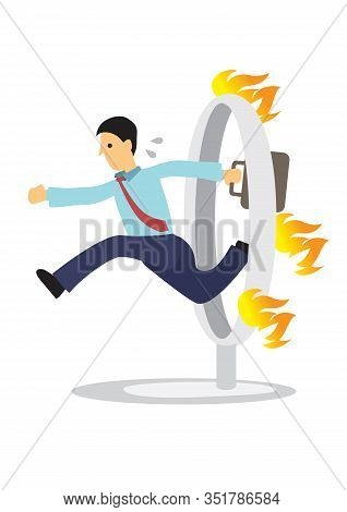 Businessman Jumping Over A Burning Fire. Vector Cartoon Illustration For Concept On Overcoming Chall