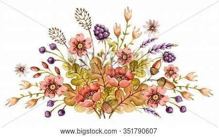 Watercolor Illustration With Wild Watercolor Floral Summer Bouquet For Decoration Design. Flower Wat