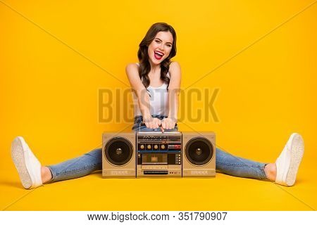 Full Length Photo Of Pretty Crazy Lady Sit Floor Vintage Recorder Between Spread Legs Party Mood Wea