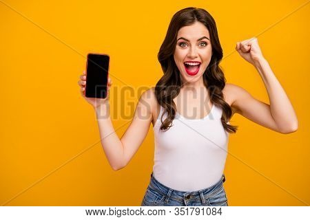 Photo Of Funny Pretty Lady Telephone Hand Showing Screen New Gadget Model Low Season Price Advertise