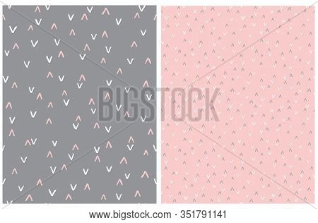 Set Of 2 Abstract Hand Drawn Childish Style Seamless Vector Patterns. White And Pink Arches Isolated