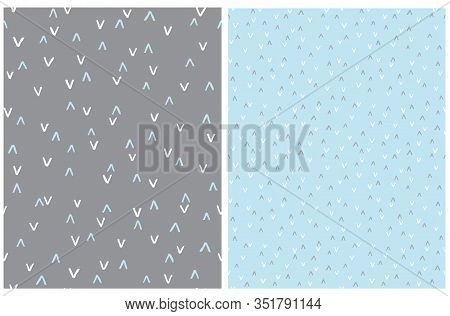 Set Of 2 Abstract Hand Drawn Childish Style Seamless Vector Patterns. White And Blue Arches Isolated