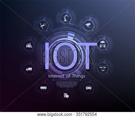 Internet Of Things Iot And Networking Concept For Connected Devices. Spider Web Of Network Connectio